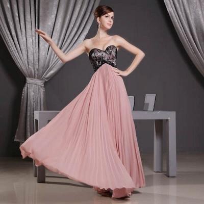 Black Long Lace Chiffon Sweetheart Luxury Bridesmaid Dress UK_5