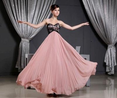 Black Long Lace Chiffon Sweetheart Luxury Bridesmaid Dress UK_1