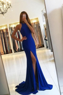 Sexy Royal Blue Mermaid Evening Dress UK Slit Formal Dress UK BA6831_1