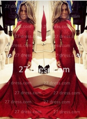 Lace Vintage Retro Mermaid prom Dress UKes UK Red Front Open Long Sleeve Prom Gowns with Sweep Train_4