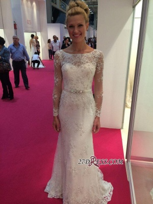 Lace Buttons Sexy Mermaid Appliques Crystal Long-Sleeves Elegant Wedding Dress_2