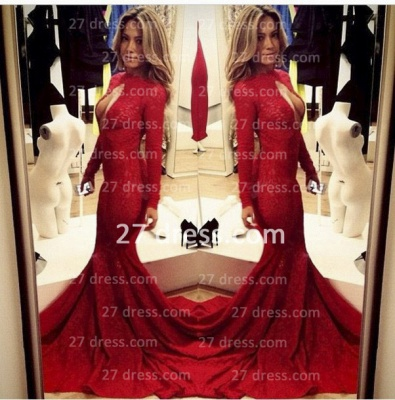 Lace Vintage Retro Mermaid prom Dress UKes UK Red Front Open Long Sleeve Prom Gowns with Sweep Train_3