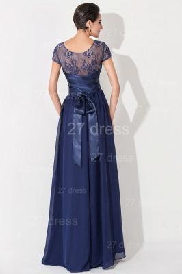 Newest Illusion Cap Sleeve Evening Dress UK A-line Bowknot_4