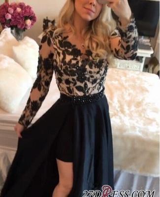 Short Black Detachable-Skirt Appliques Long-Sleeves Sheath Homecoming Dress UKes UK BA4100_3