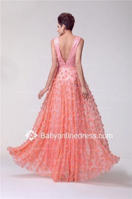 V-neck Appliques Luxury Prom Dress UK Beadings Tulle_3