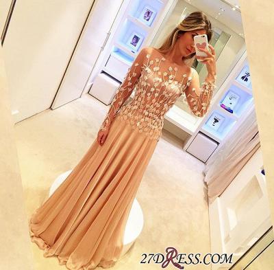Long-Sleeve Long Chiffon Luxury Appliques Prom Dress UKes UK_1