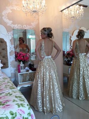Modern V-neck Sleeveless Pearls Prom Dress UK Open Back Floor-length BT0_3