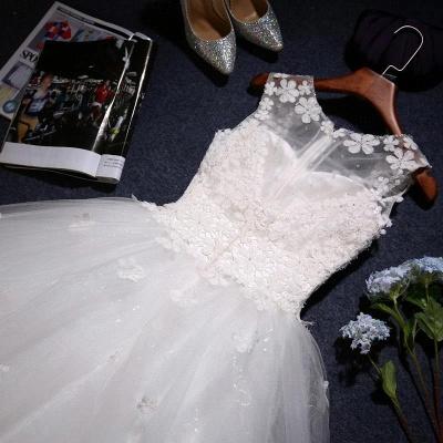 Stunning Sleeveless Scoop Neckline Wedding Dress tulle Lace Appliques_3