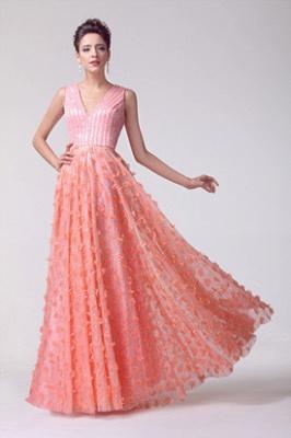 V-neck Appliques Luxury Prom Dress UK Beadings Tulle_5