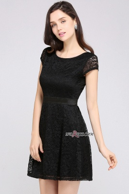 Cap-Sleeves Short Sash Simple Jewel Black Lace Homecoming Dress UK_5