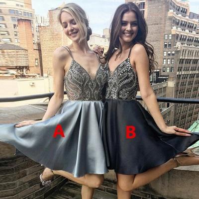 Luxury V-Neck Spaghetti-Straps Homecoming Dress UK | Beadings Mini Short Prom Dress UK_4