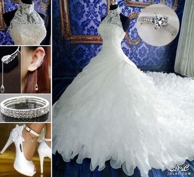 Gorgeous Ruffles Lace High Neck Wedding Dress Court Train Zipper_4