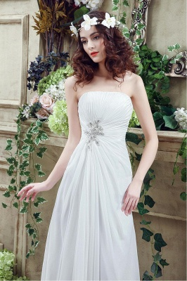 Newest Strapless White Beadss Wedding Dress A-line Sweep Train_6