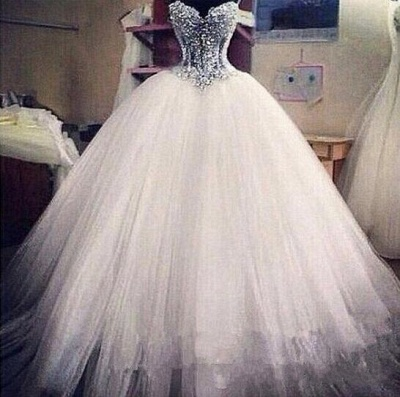 Elegant Sweetheart Sleeveless Tulle Wedding Dress With Appliques Beadss_3