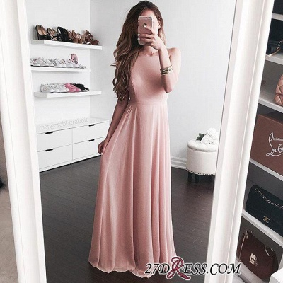 Pink Sleeveless Floor-length Sexy A-line Jewel Prom Dress UK_1