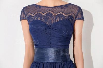 Newest Illusion Cap Sleeve Evening Dress UK A-line Bowknot_2