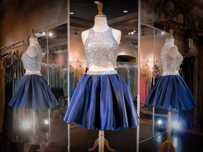 Luxury Two Piece Mini Homecoming Dress UK Sequined Jewel Sleeveless_3