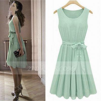 Cocktail Short Green Homecoming Dress UKes UK with Light Jewel Sleeveless Chiffon Ruffles Bow Sash Simple Gowns_6