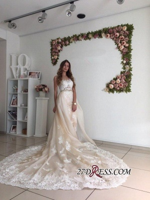 Sexy Mermaid Gorgeous Detachable-Cathedral-Train Tulle Lace Wedding Dresses UK_1