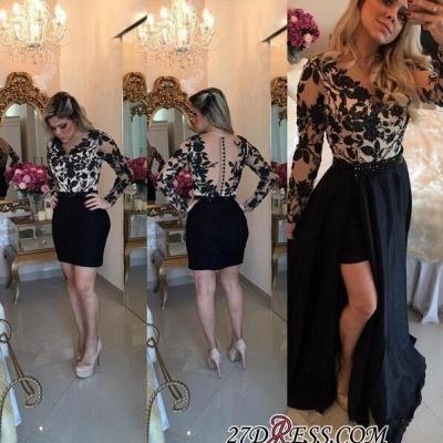 Short Black Detachable-Skirt Appliques Long-Sleeves Sheath Homecoming Dress UKes UK BA4100_2