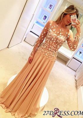 Long-Sleeve Long Chiffon Luxury Appliques Prom Dress UKes UK_2