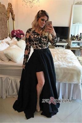 Short Black Detachable-Skirt Appliques Long-Sleeves Sheath Homecoming Dress UKes UK BA4100_4