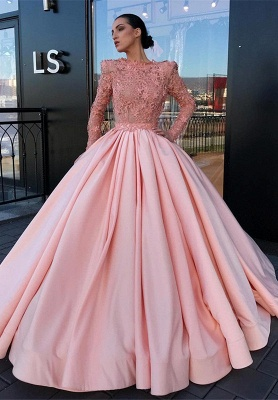Long Sleeve Ball Gown Pink Prom Dress UK | Appliques Pink Evening Gowns_1
