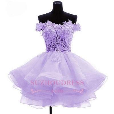 Short Flowers Ruffles Cute Off-the-Shoulder Homecoming Dress UK_1