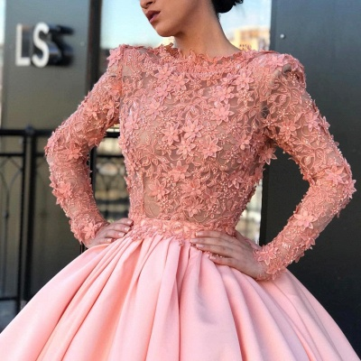 Long Sleeve Ball Gown Pink Prom Dress UK | Appliques Pink Evening Gowns_4