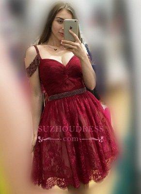 Lace Burgundy Off-the-Shoulder Elegant Bead A-line Homecoming Dress UKes UK_1