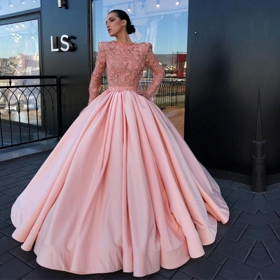 Long Sleeve Ball Gown Pink Prom Dress UK | Appliques Pink Evening Gowns_3