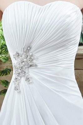 Newest Strapless White Beadss Wedding Dress A-line Sweep Train_3