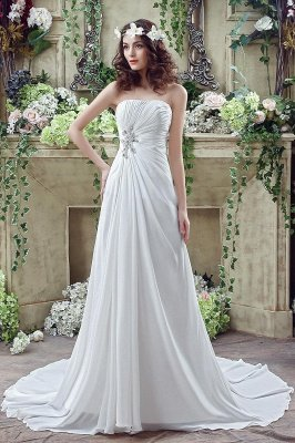 Newest Strapless White Beadss Wedding Dress A-line Sweep Train_1