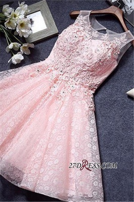 A-Line Lace Pink Sleeveless Appliques Homecoming Dress UK_4