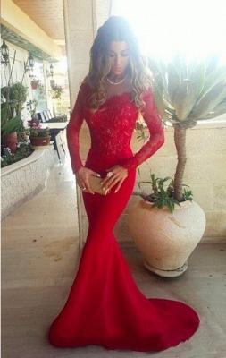 Elegant Red Lace Appliques Mermaid Prom Dress UK Sweep Train Long Sleeve_1