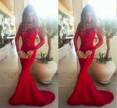 Elegant Red Lace Appliques Mermaid Prom Dress UK Sweep Train Long Sleeve_2
