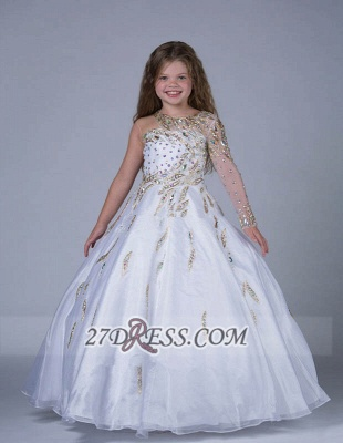 Glamorous Jewel Floor-length Girl Pageant Dress Ball Gown With Crystals_1