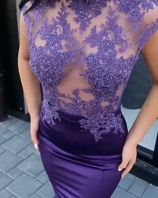 Luxury Short Sleeve Lace Appliques Evening Dress UK Mermaid Long On Sale_4