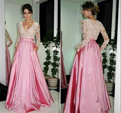 Sexy A-Line V-neck Prom Dress UKes UK Long Sleeve Evening Dress UKes UK with Beadings_3