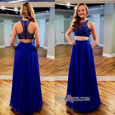 Newest Jewel Long Sleeveless Royal-Blue Beads Two-piece Prom Dress UK_1