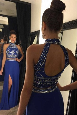 Luxury Two Pieces High Neck Prom Dress UK Long Chiffon With Beadings AP0_1