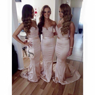 Elegant Sleeveless Sweartheart Mermaid Bridesmaid Dress UK Sweep Train_1