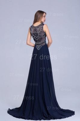Newest Illusion Mermaid Beadings Evening Dress UK Sweep Train_5