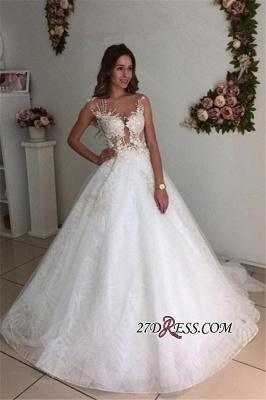A-Line Beach Court-Train White Lace Tulle Appliques Wedding Dresses UK_1