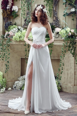 Front Split White Wedding Dress Beadss Sweetheart Sleeveless_1
