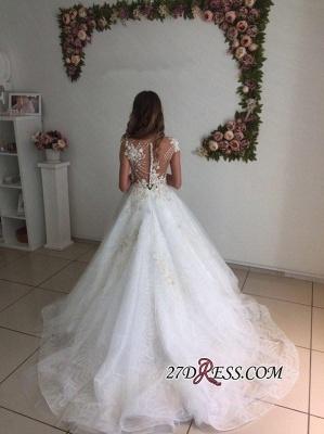 A-Line Beach Court-Train White Lace Tulle Appliques Wedding Dresses UK_2