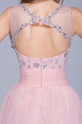 Lovely Illusion Pink Short Homecoming Dress UK Sleeveless With Crystals_3