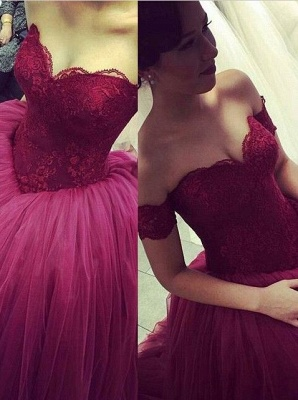 Modern Off-the-shoulder Tulle Lace Evening Dress UK Princess Sweep Train_1