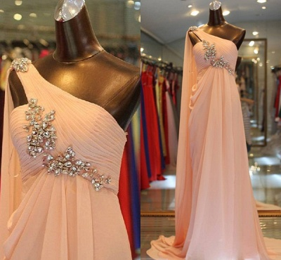 Sexy One Shoulder Long Chiffon Evening Dress UK With Crystals_2