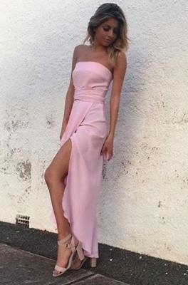 Chiffon Pink Front-Split Sleeveless Strapless Sexy Prom Dress UK_3